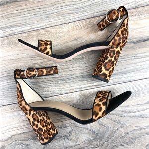 ANN TAYLOR Calf Hair animal print platform sandals
